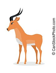Antelope Impala Cartoon Icon in Flat Design - Antelope...