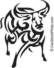 antelope in tribal style - vector illustration