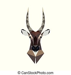 Antelope portrait. Polygonal style. Wild animal vector...