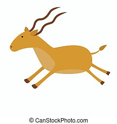 Antelope with long horns in jumping position