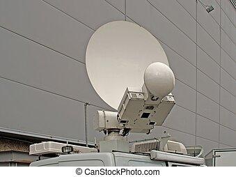 antena, camión, relevo