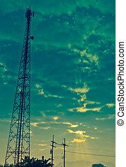 antena, comunicación, cielo, nublado, torre, rayo de sol