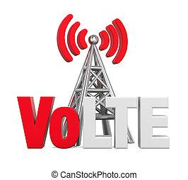 antena, encima, metal, aislado, señal, lte, voz