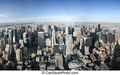 antena, na, panoramiczny, york, nowy, manhattan, prospekt