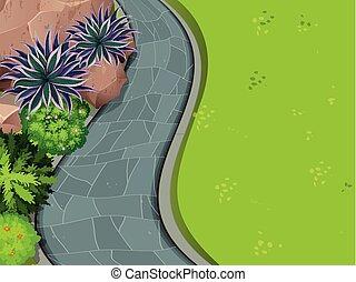antena, ogród, prospekt