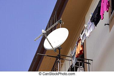 antena, satélite, detalle