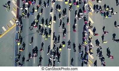 antena, tłum, ludzie, truteń, przygotowując, prospekt, run.