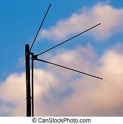 antena tv, em, pôr do sol