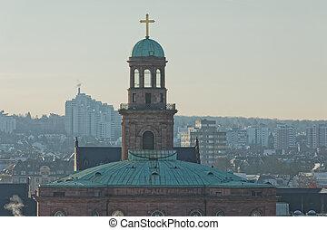 antena, zima, rano, święty, kościół, paweł, frankfurt,...