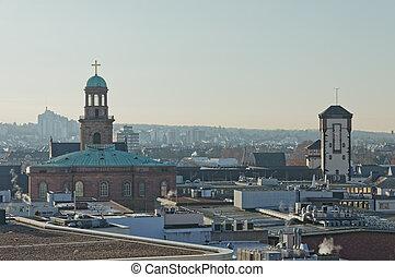 antena, zima, rano, panoramiczny, frankfurt, prospekt
