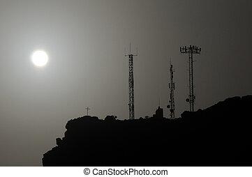 antenas, algunos, silhouetted