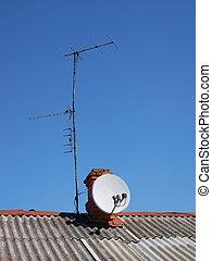 antenas, casa, viejo, techo