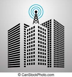 antenas, cidade, edifícios, jogo, ícone