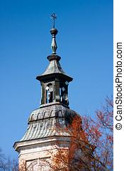 antenas, en, moderno, iglesia, torre