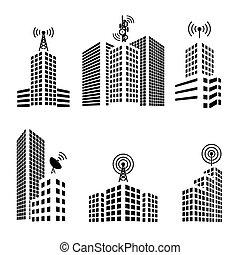 antenas, ligado, edifícios, cidade, ícone, jogo