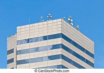 antenas, modernos, telhado, telecomunicação, edifício.