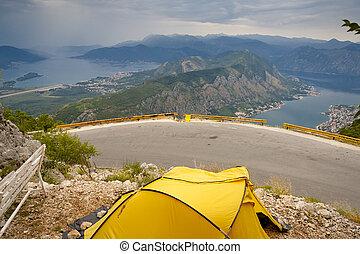 antenn,  kotor,  -,  Montenegro, gul, vik, tält, synhåll