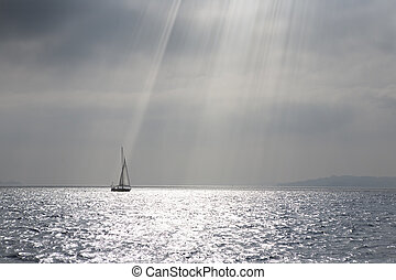 antenn, segelbåt, segla