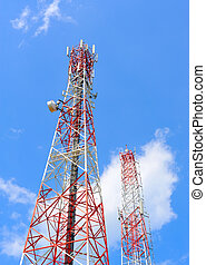 Antenna against blue sky