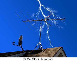 Antenna and dish mounted on roof with lightning in background symbolizing power