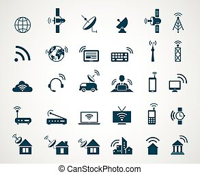 Antenna and wireless technology icons. Antenna wireless, technology connection wireless, icon set wireless communication, satellite internet, vector illustration