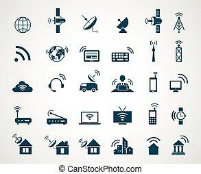 Antenna and wireless technology icons. Antenna wireless, technology connection wireless, icon set wireless communication, satellite internet, vector illustration