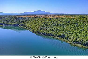 antenna, brljan, tó, kanyon, krka, horvátország, folyó,...