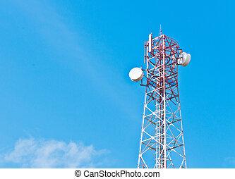 Antenna closeup with blue sky