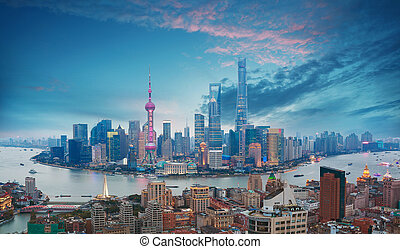 antenna, gát, szürkület, fotográfia, shanghai, láthatár
