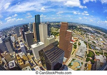 antenna, közül, modern, épületek, alatt, belvárosi houston