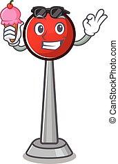 Antenna mascot cartoon design with ice cream