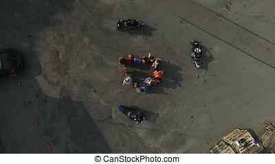 antenna, mindenfelé, womans, lovagol, biciklisek, csoport, tető kilátás