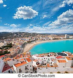 antenna, peniscola, castellon, falu, tengerpart, spanyolország, kilátás
