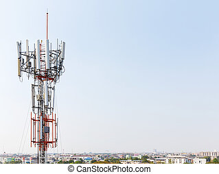 Close up antenna repeater cell tower in city