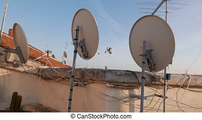 antenna satellite roof - satellite parabolic antenna on...