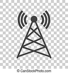 Antenna sign illustration. Dark gray icon on transparent...