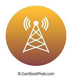 Antenna sign illustration. White icon in circle with golden grad