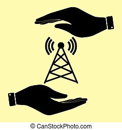Save or protect symbol by hands. - Antenna sign. Save or...