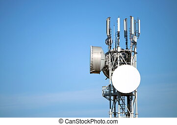 Antenna  - Modern antenna with flat paraobla on blue sky