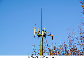 Antenna tower, antenna tower building with the blue sky.