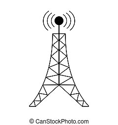 antenna tower broadcast connection pictogram vector...