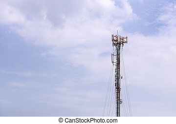 Antenna tower building with the blue sky.