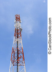 antenna tower building with the blue sky in the vertical frame