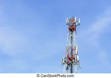 antenna tower building with the blue sky
