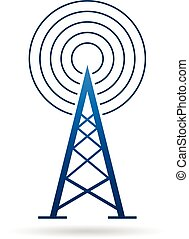Antenna tower with waves logo. Vector graphic design illustration
