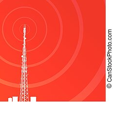 Antenna transmission communication tower vector background...