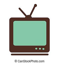 antenna, tv, vendemmia, graphic., illustrazione, vettore
