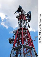 Antenna - Upper fragment of antenna construction over blue ...