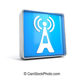 Antenna- web button isolated on white background