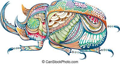 Antennae Beetle - Illustration of abstract beetle.